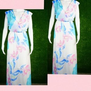 White pink floral maxi sheer flow slip dress